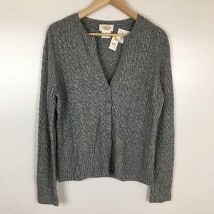 Talbots Gray Cable Knit V Neck Cardigan Medium